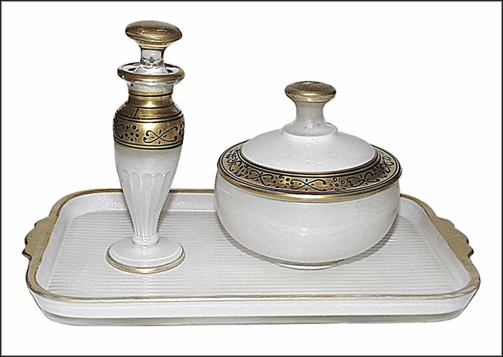 Diamond White Enameled Vanity Set with Gold Decoration