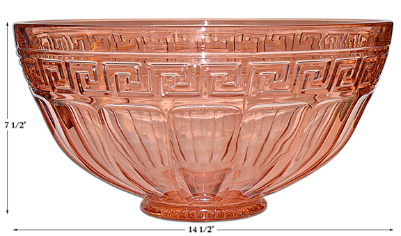 Heisey Greek Key Pink Punch Bowl
