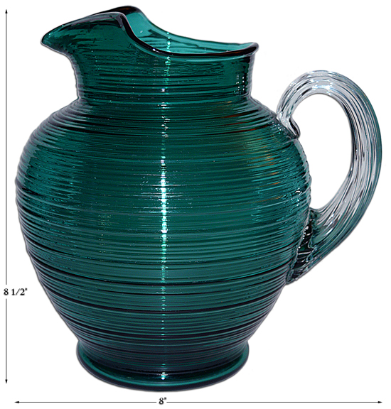 Imperial Reeded Spun Steigel Green Pitcher