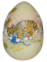 Fenton Burmese Diamond Optic Kitty Egg