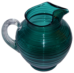 Imperial Reeded Spun Steigel Green Pitcher LD