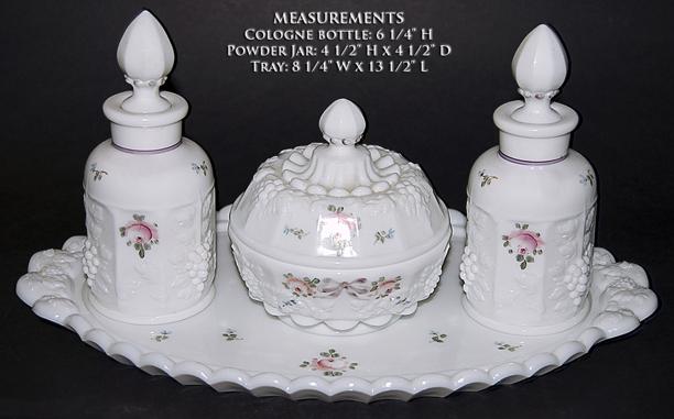 Westmoreland Paneled Grape Roses and Bows Vanity Set