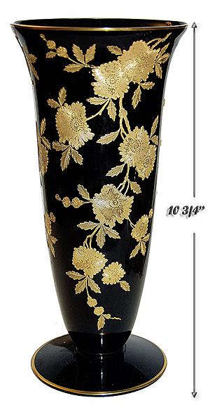 Cambridge Ebony Blossom Time Vase / Gold Decoration