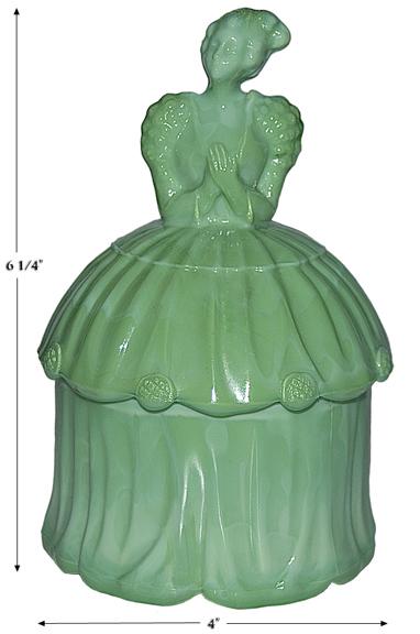 Akro Agate Opaque Green Colonial Lady Powder Jar