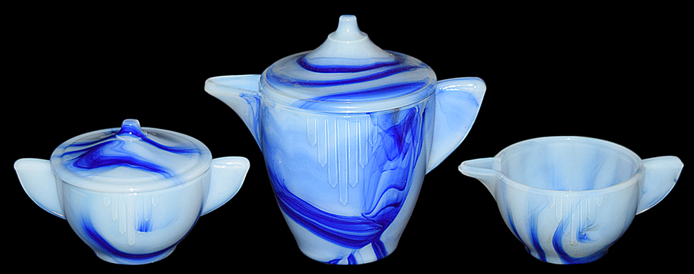 Akro Agate Blue Marbleized Interior Panel Large Teapot, Creamer and Sugar
