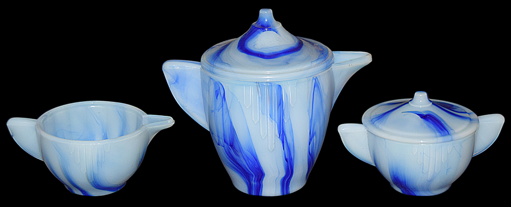 Akro Agate Blue Marbleized Interior Panel Large Sugar and Creamer TOS