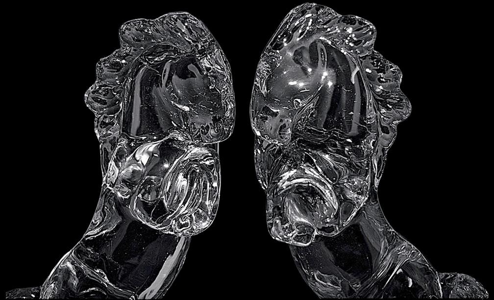 Paden City Glass Barth Rearing Horse Figure Heads