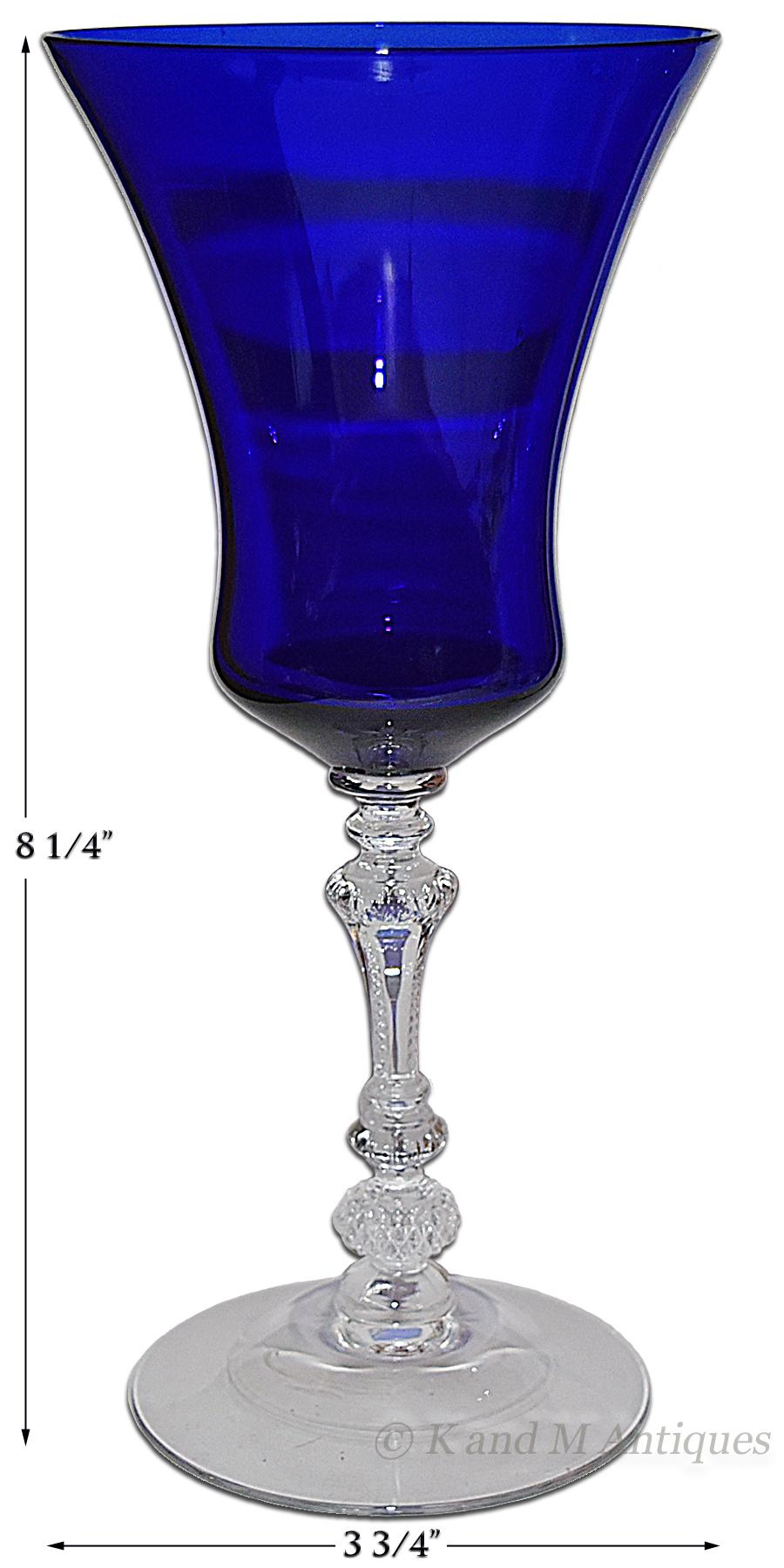 Cambridge #3500 Cobalt Long Bowl Goblet