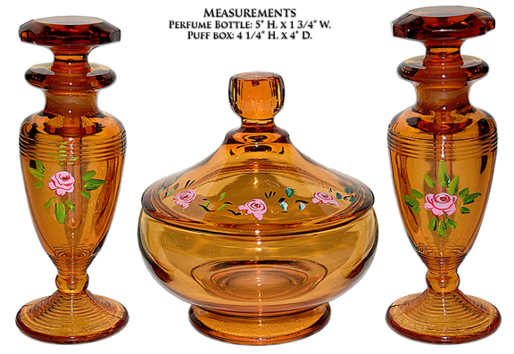Cambridge Amber Vanity Set with Roses