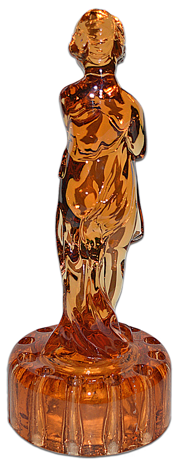 Cambridge Draped Lady Amber Flower Frog Back