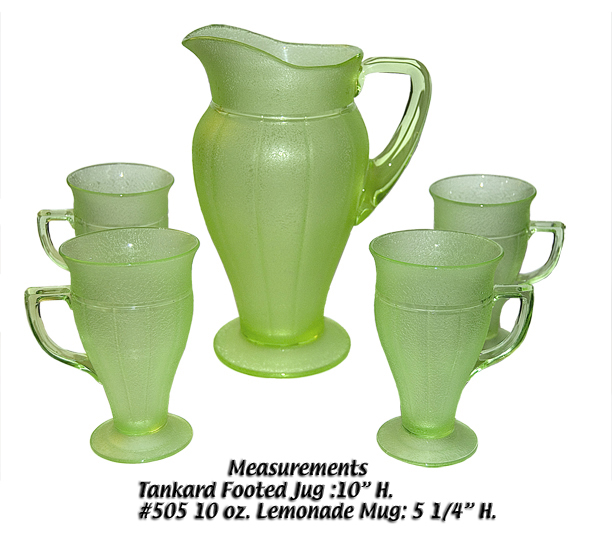Green Cambridge Lemonade Pitcher and Tumblers with Acid Sponge Finish