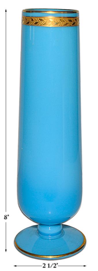 Cambridge Azurite Blue Bud Vase with Gold Trim