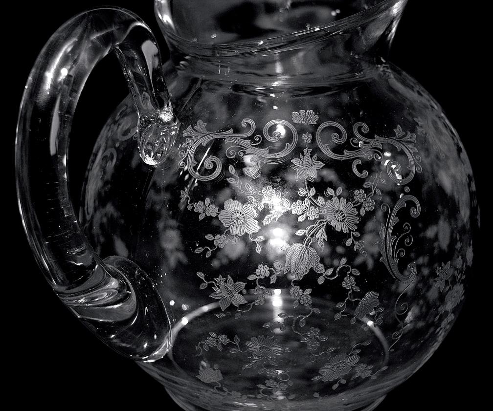 Cambridge Chantilly 1561 Jug / Pitcher Pattern Close up  and Handle