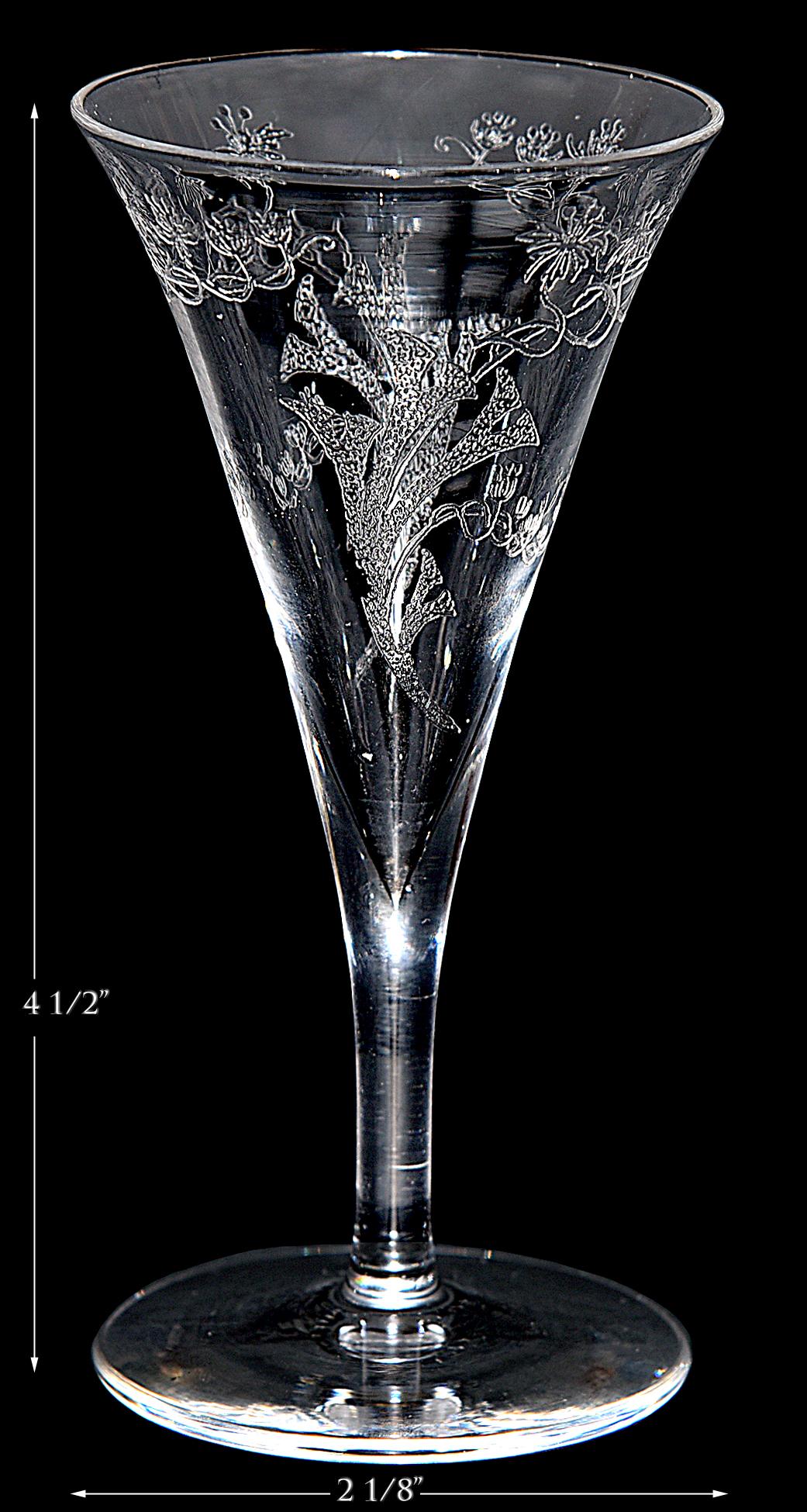 Central Glass Works Floral Trumpets Wine Goblet