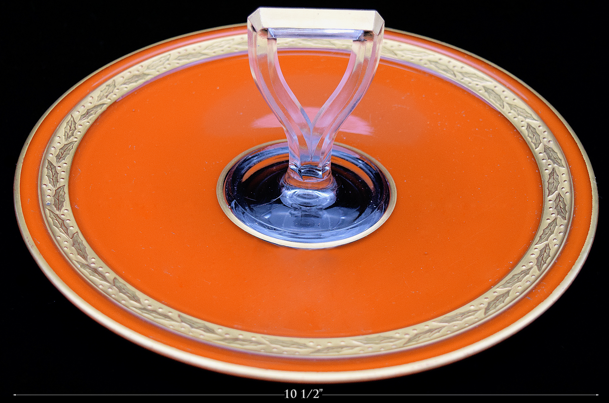 Central Glass Orange and Gold Sandwich Server