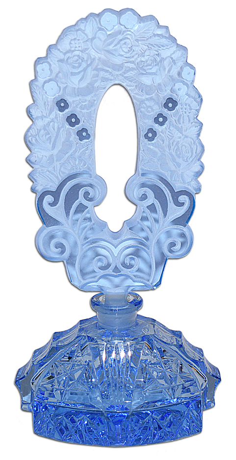 Czechoslovakain Blue Fancy Cut Perfume Bottle The Back