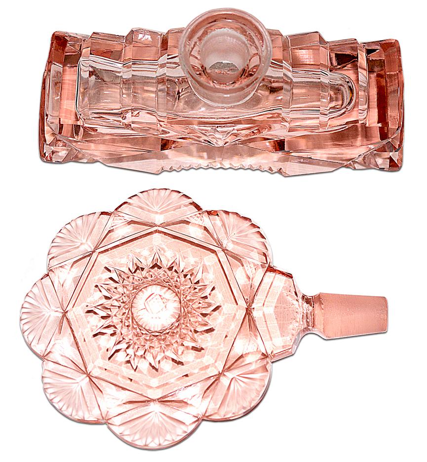 Czechoslovakain Pink Fancy Cut Perfume Bottle Stopper and Bottom