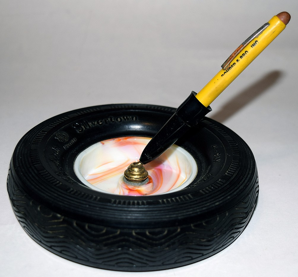 "Akro Agate ""Goodrich / Silvertown"" RARE Orange Marble Advertising Paper Clip or Ashtray / Pen Holder in Rubber Tire Holder"