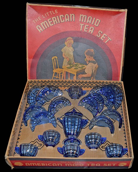 Akro Agate Stacked Disc and Interior Panel Large Child's Set Boxed - COMPLETE*