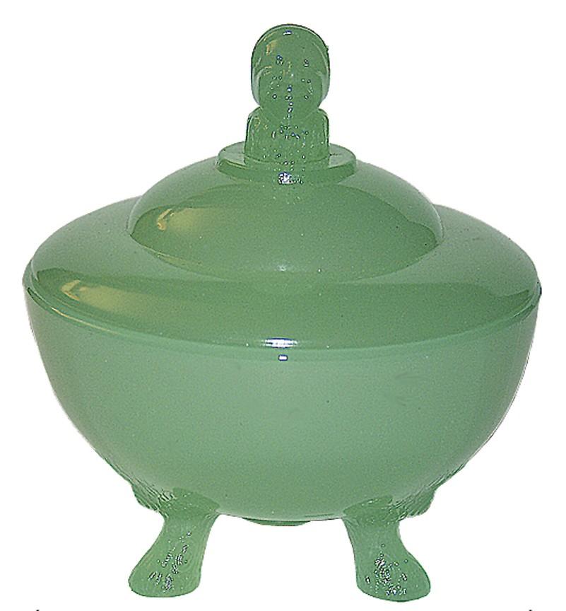 Beaumont Jester Jadite Powder Jar with Three Feet