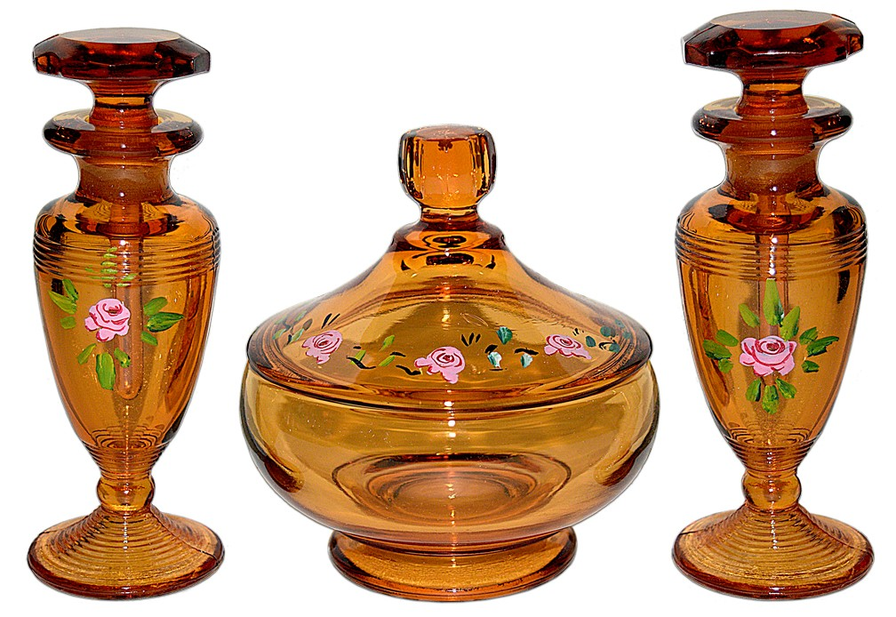 Cambridge Amber Vanity Set (#581 Puff Box & 2 #198 Cologne Bottles / Perfumes) DECORATED DONE