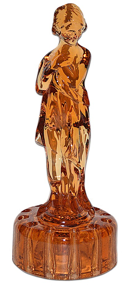 "Cambridge Amber Draped Lady #513 12 1/2""  Figure / Flower Frog"
