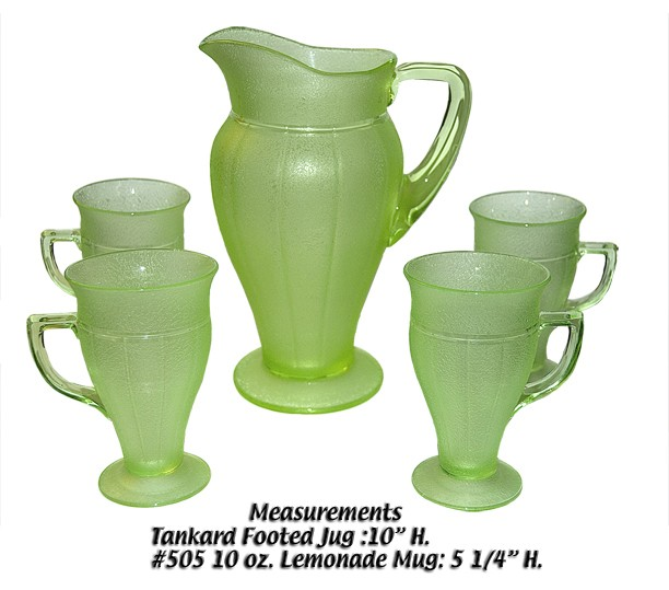 Cambridge Green Sponge Satin Etched Lemonade Pitcher and Mugs