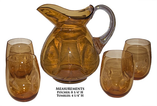 Cambridge Amber #3400/154 Pinch Jug / Pitcher & 4 Hard to Find Tumblers *