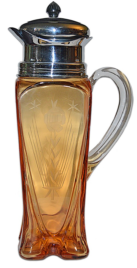 Cambridge Amber 3400/158 DECO Cocktail Shaker with Chrome Lid / Bakelite Finial