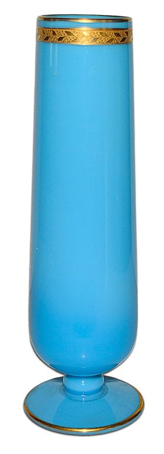 Cambridge Azurite Blue Opaque #2366 Bud Vase / Gold Laurel Decoration and Gold Trim