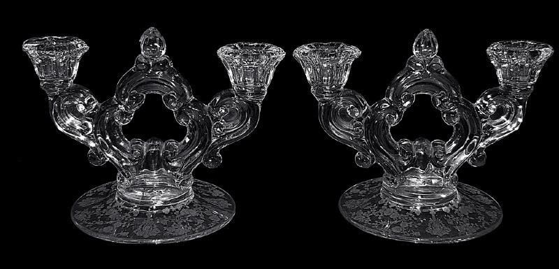 Cambridge Rose Point No. 3400 / 647 2 Light Candleholders