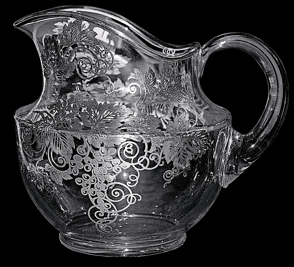 Cambridge #935 Silver Overlay Jug with Silver City's Vintage / Grape Pattern