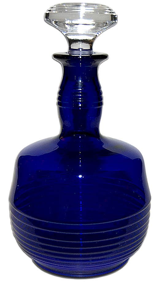Cambridge Tally Ho Cobalt Blue Decanter and Stopper - No Handle