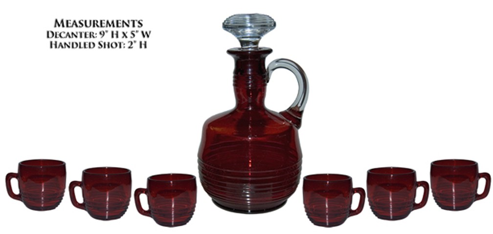 Cambridge Tally Ho Carmen (Ruby) Decanter and 6 - 2.5 Ounce Whiskey Mugs