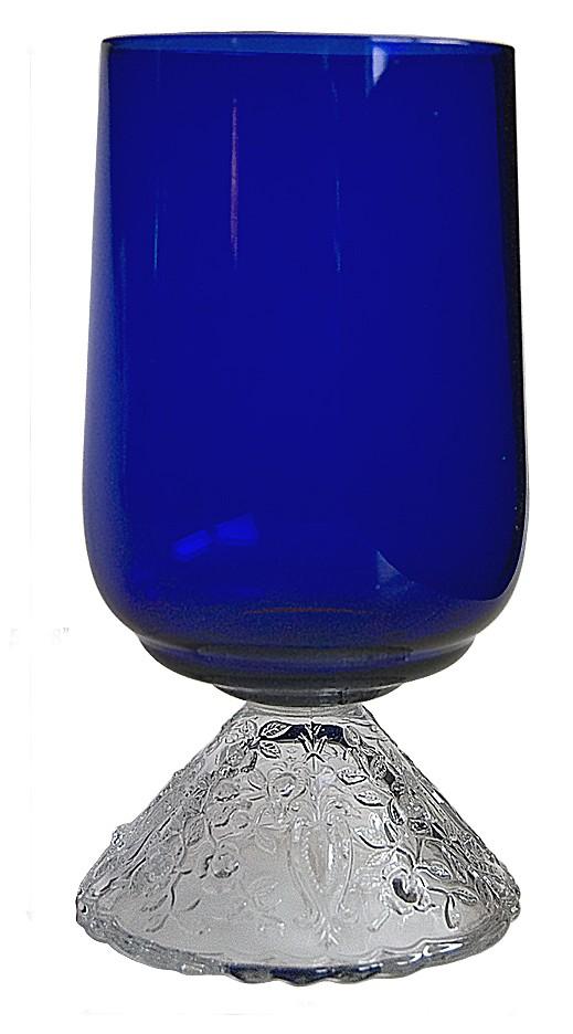Cambridge Rose Point Cobalt Pressed 12 oz Footed Ice Tea Tumbler