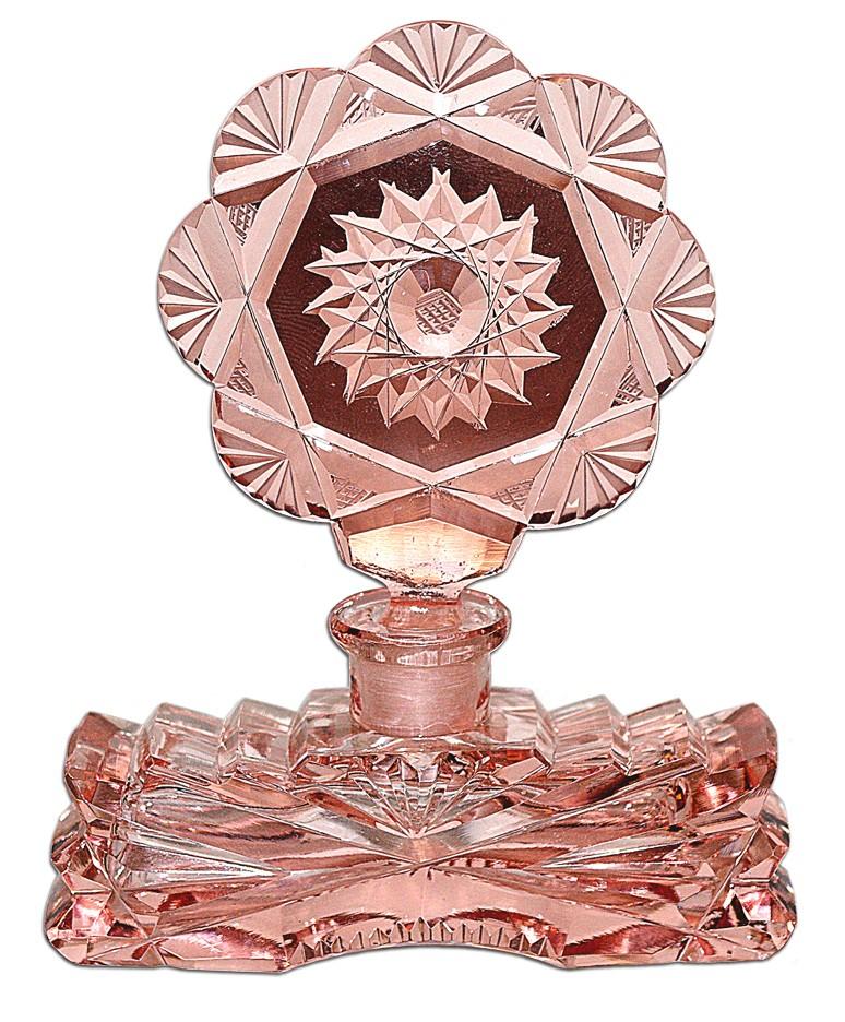 Czechoslovakian Fancy Pink Cut Depression Era Perfume Bottle - BEAUTIFUL STOPPER!