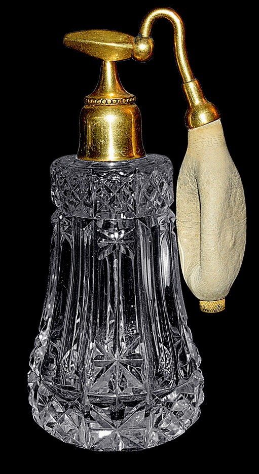 DeVilbiss Deco Crystal Cut Early 1900s Perfume Atomizer / Bottle