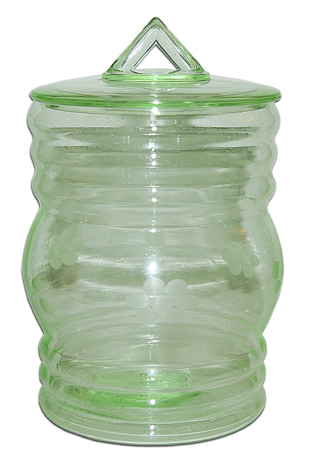 Dunbar / Green Deco Wheel Cut Canister Style Candy / Cookie Jar / Utility Jar