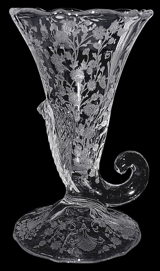"""Duncan and Miller First Love #117 8""""  Large Cornucopa Vase"""