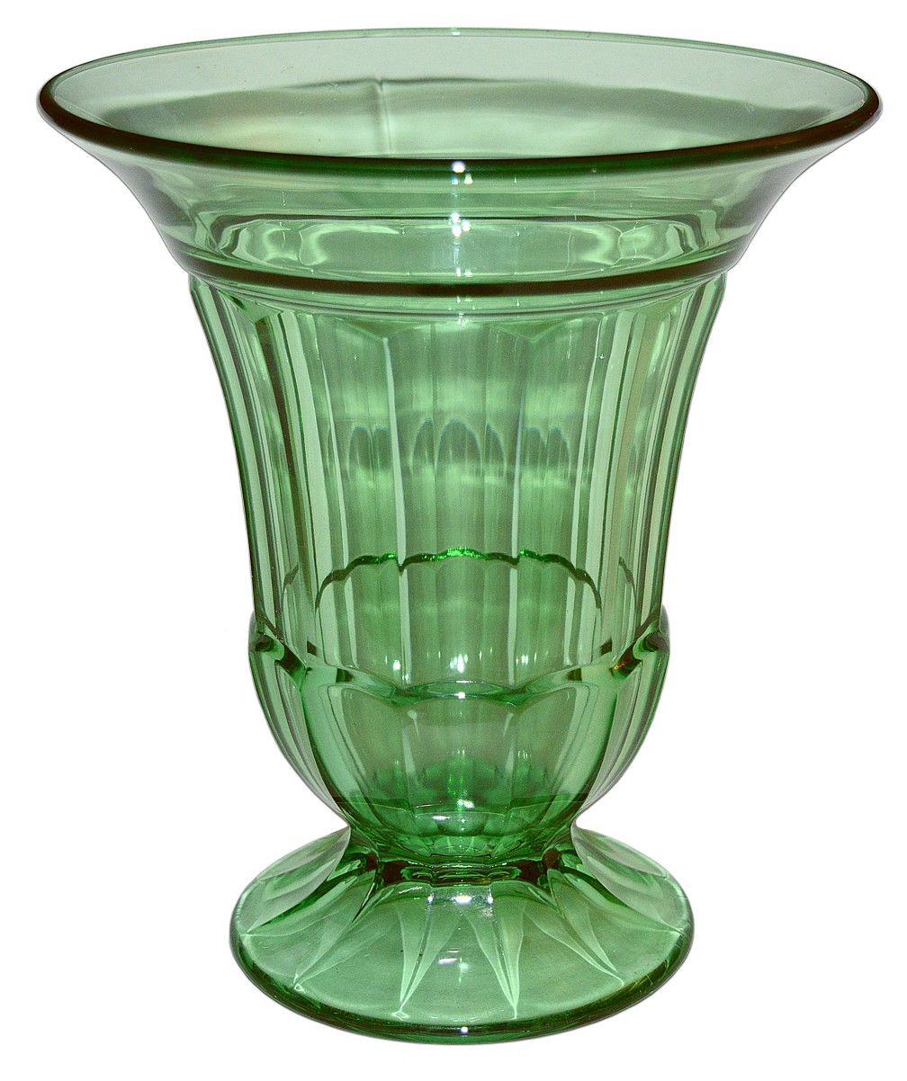 Duncan and Miller Green #55 Spicer Deco Large Footed Vase