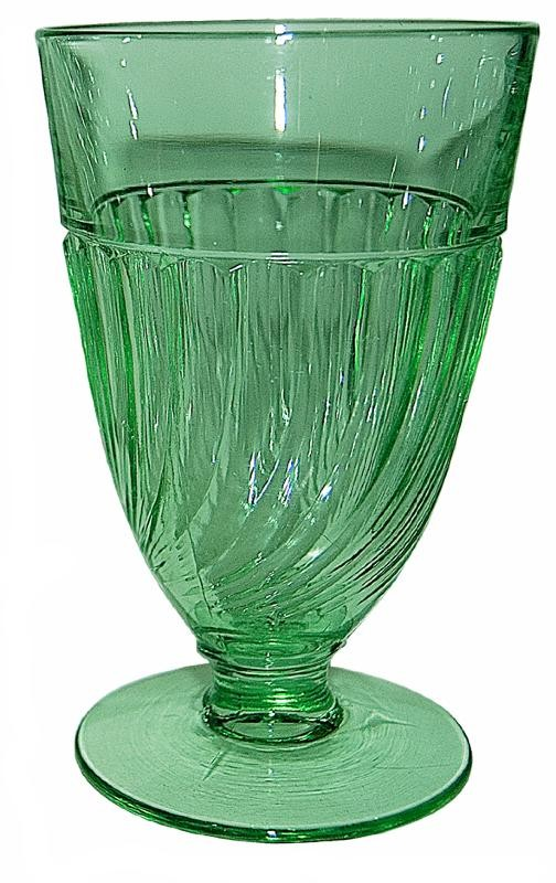 Duncan & Miller Spiral Flutes Green Hard to Find  9 oz. Footed Water Tumbler