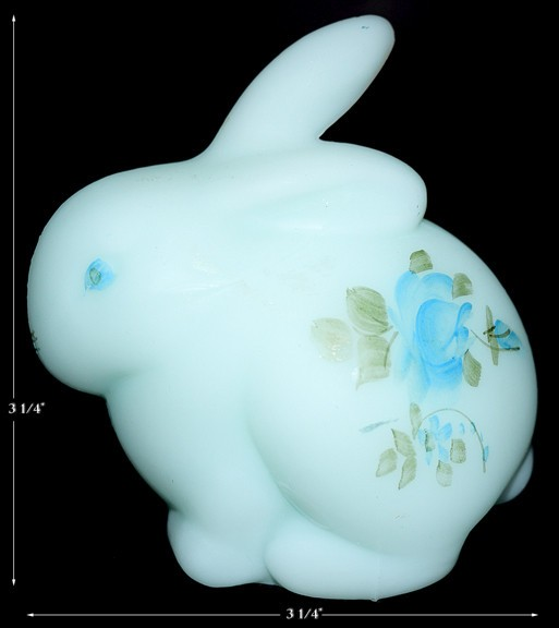 Fenton Blue Roses On Blue Satin #5162 Bunny Rabbit Figure