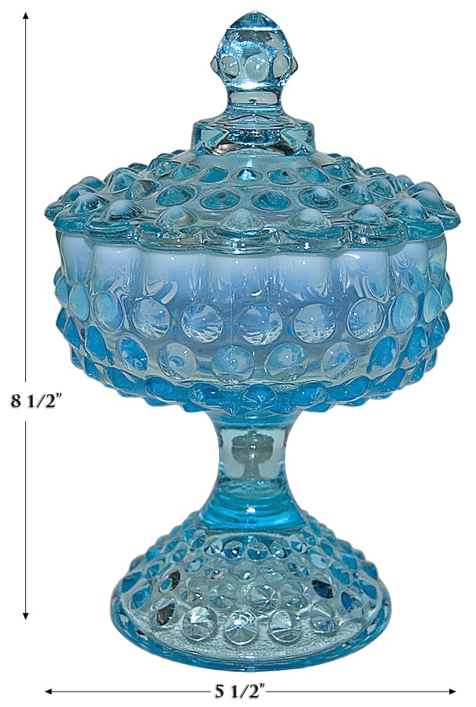 Fenton Hobnail Blue Opalescent Footed #3887 Candy Dish