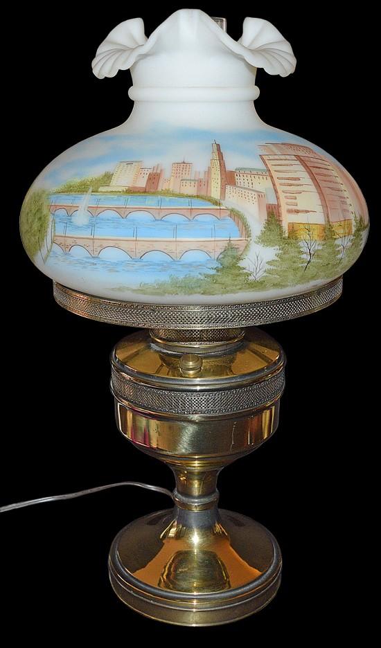 "Fenton Columbus Skyline RARE 22"" Student Lamp"