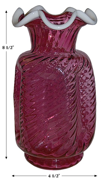 """Fenton Snow Crest Ruby #3152 - 8 1/2"""" Pinch Vase"""