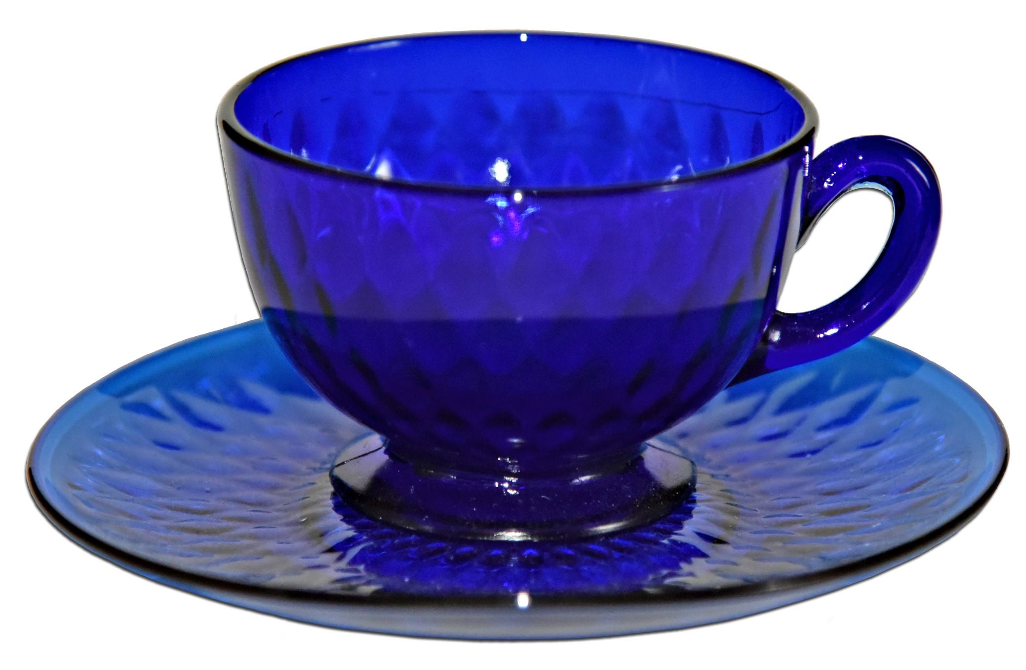 Fenton Royal Blue / Cobalt Diamond Optic #1502 Cup and Saucer