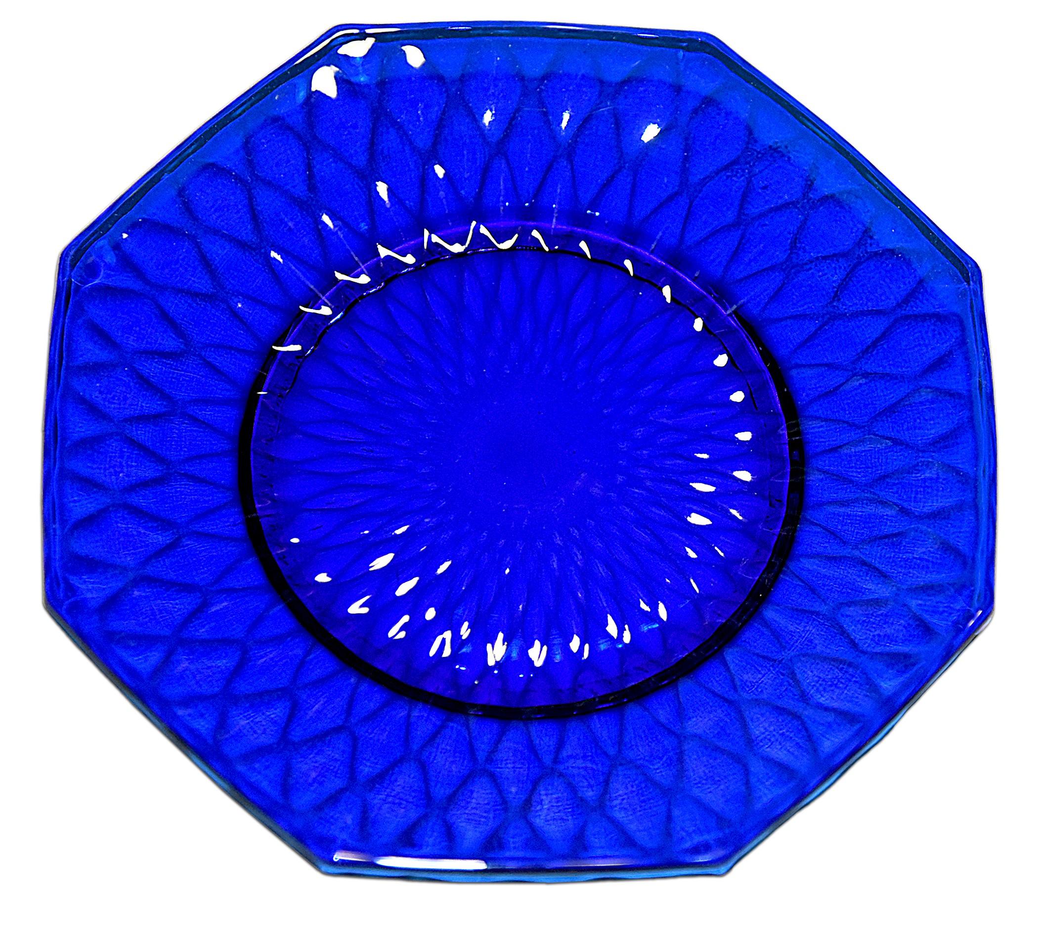 "Fenton Royal Blue / Cobalt Diamond Optic #1502-7 1/2"" Octagonal Plate"