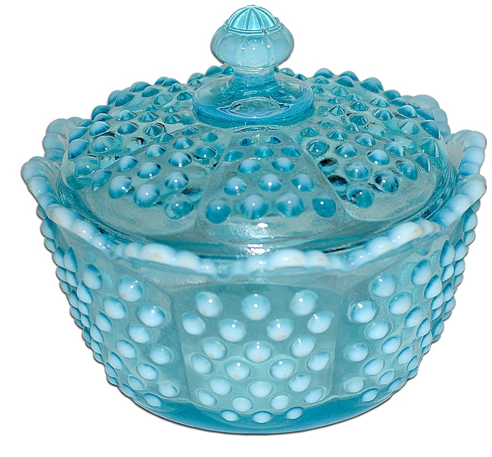 Fenton Hobnail Blue Opalescent  (#3802) Candy / Butter Dish