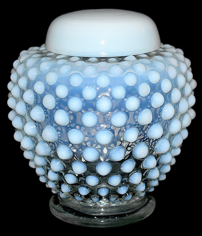 Fenton French Opalescent Hobnail #389 - 5 inch Covered Ginger Jar