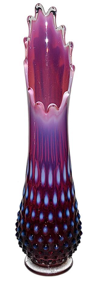 Fenton Hobnail Plum Opalescent  #3758 Medium Swung Vase